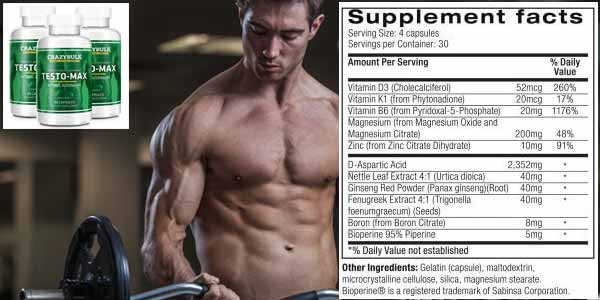 Crazy Bulk Testo Max Ingredients