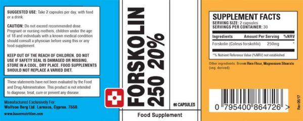 Forskolin 250 20% Dosage